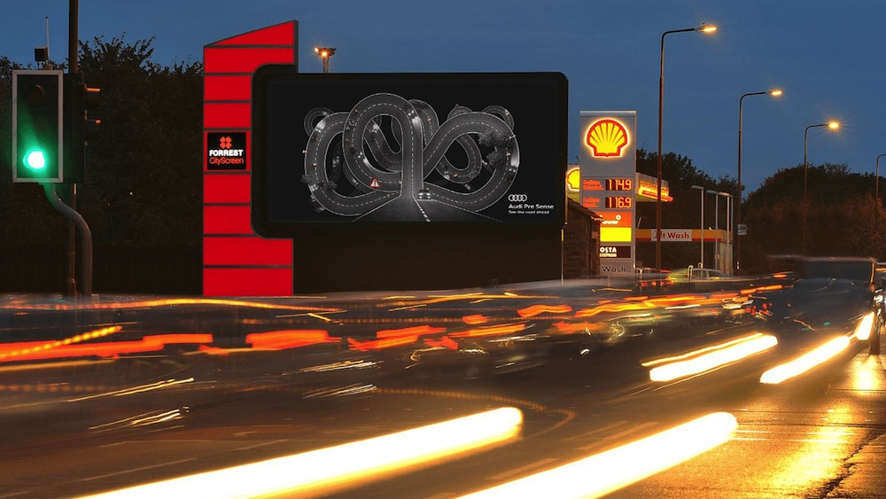 Billboardy od Audi se mění na základě podmínek na silnicích