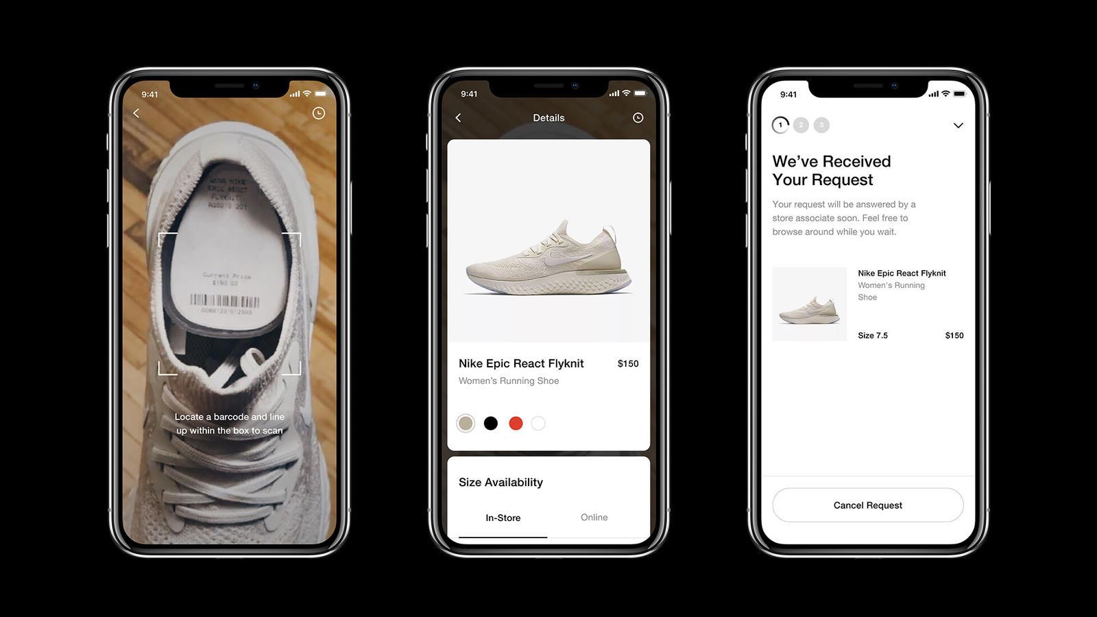 Nike pomocí aplikace zjednodušuje proces zkoušení bot na pobočce