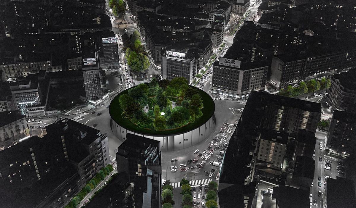 Architekti chtějí postavit na milánském náměstí závěsný park Sovraparco