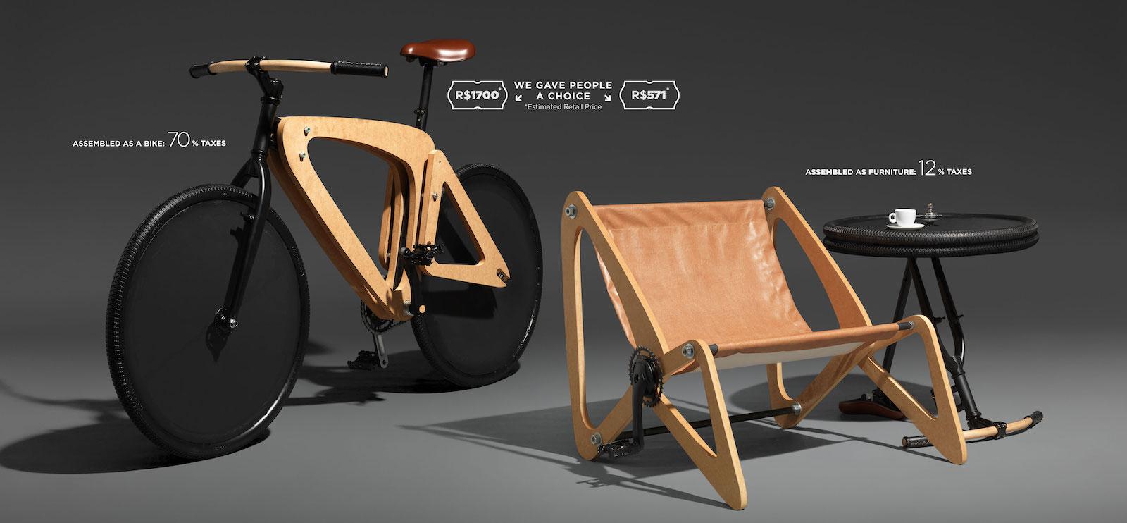 Nábytek, ze kterého můžete složit jízdní kolo, upozorňuje na přemrštěnou daň za kola