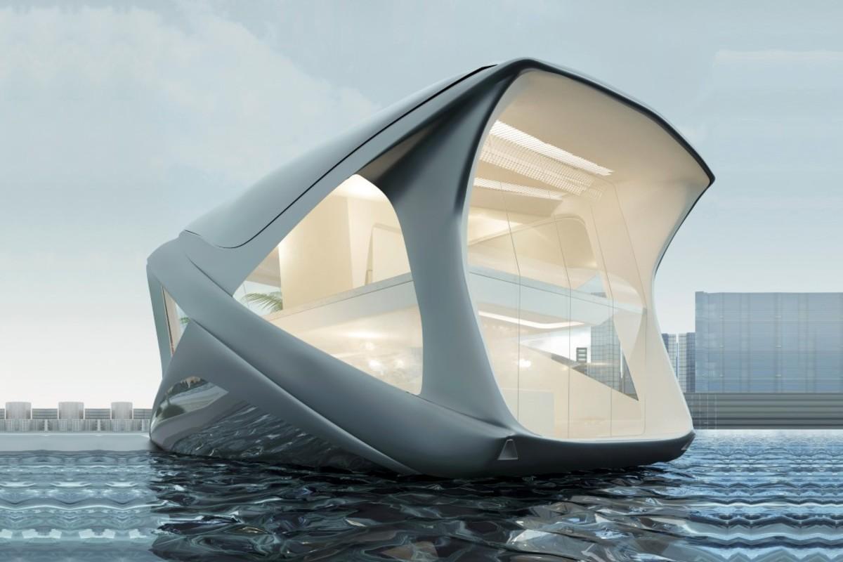 Dvoupodlažní plovoucí dům má pomoci rozšířit příměstský život k vodě