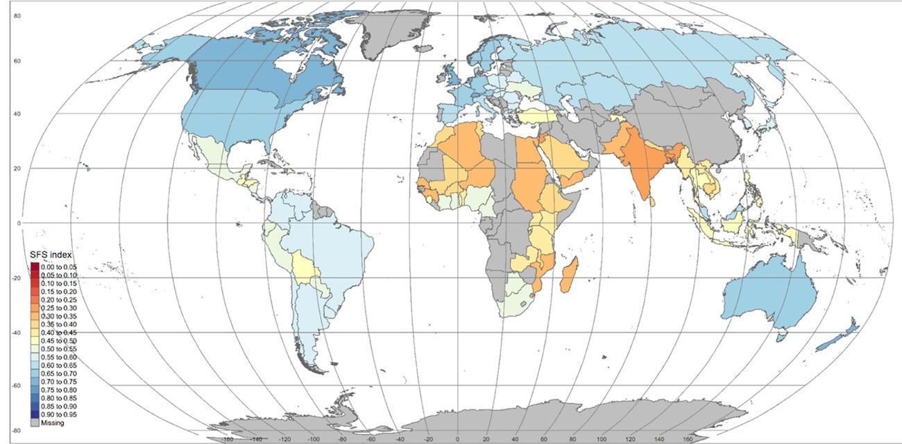 Vědci vytvořili mapu hodnotící udržitelnost globálních potravinových systémů